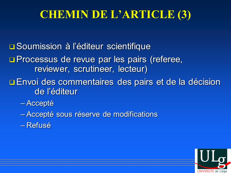 CHEMIN DE L'ARTICLE (3) Soumission à l'éditeur scientifique