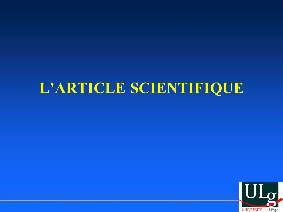 L'ARTICLE SCIENTIFIQUE
