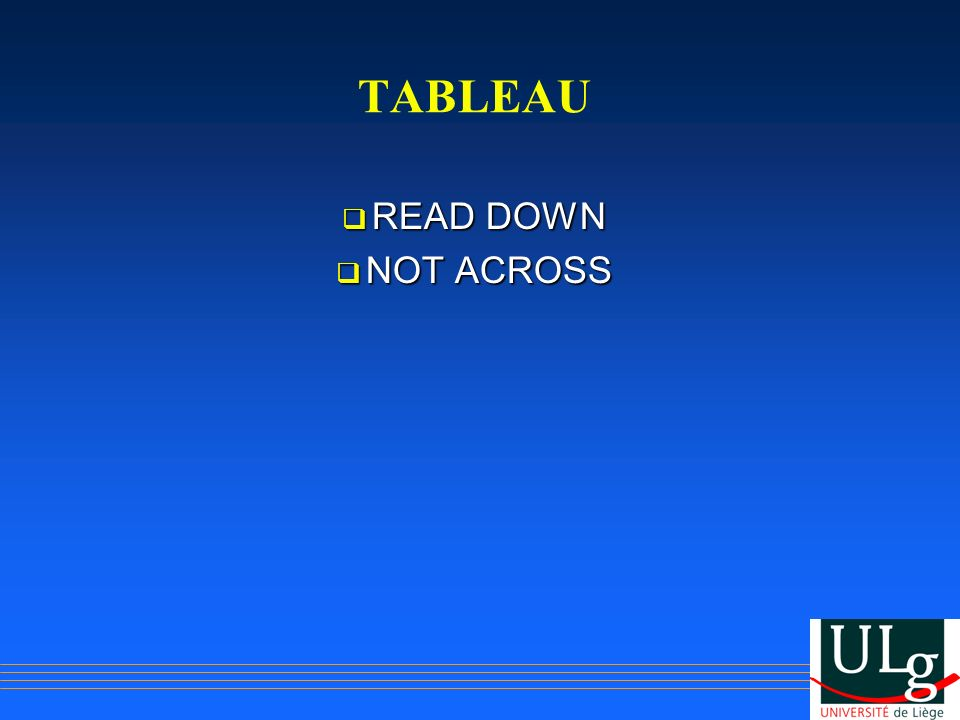 TABLEAU READ DOWN NOT ACROSS