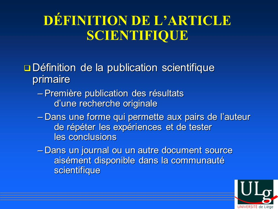 DÉFINITION DE L'ARTICLE SCIENTIFIQUE