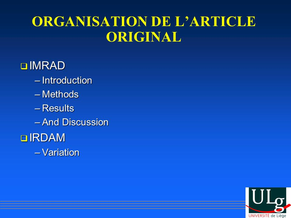 ORGANISATION DE L'ARTICLE ORIGINAL