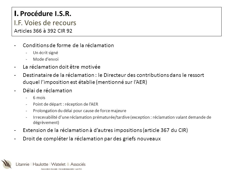 I. Procédure I.S.R. I.F. Voies de recours Articles 366 à 392 CIR 92
