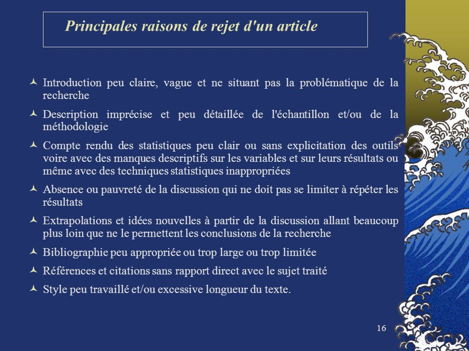 Principales raisons de rejet d un article