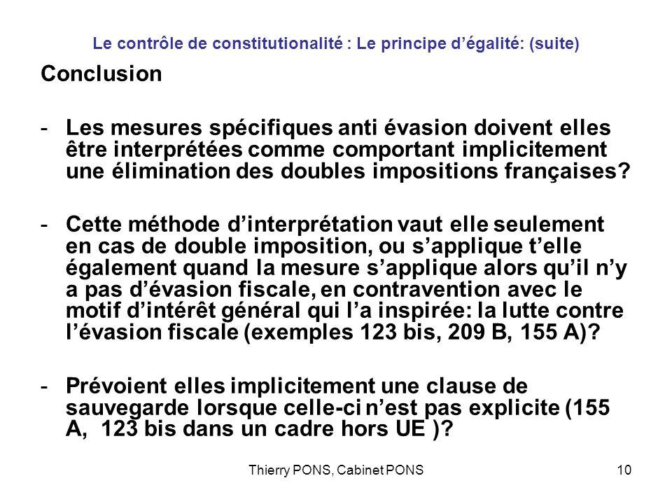 Le contrôle de constitutionalité : Le principe d'égalité: (suite)