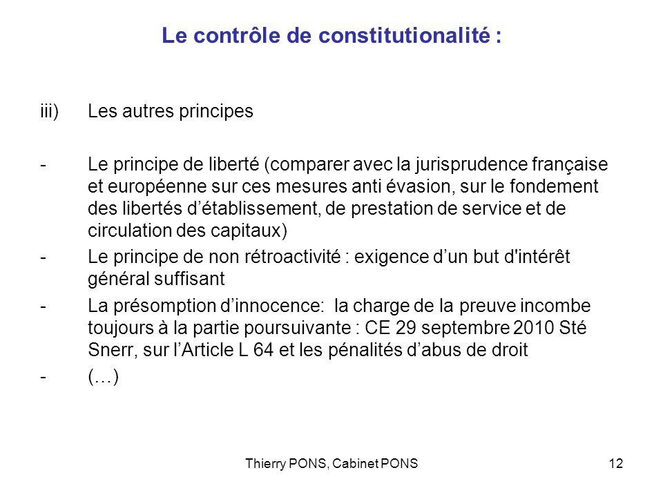 Le contrôle de constitutionalité :