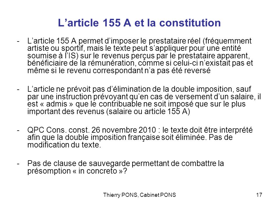 L'article 155 A et la constitution