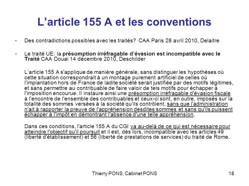 L'article 155 A et les conventions