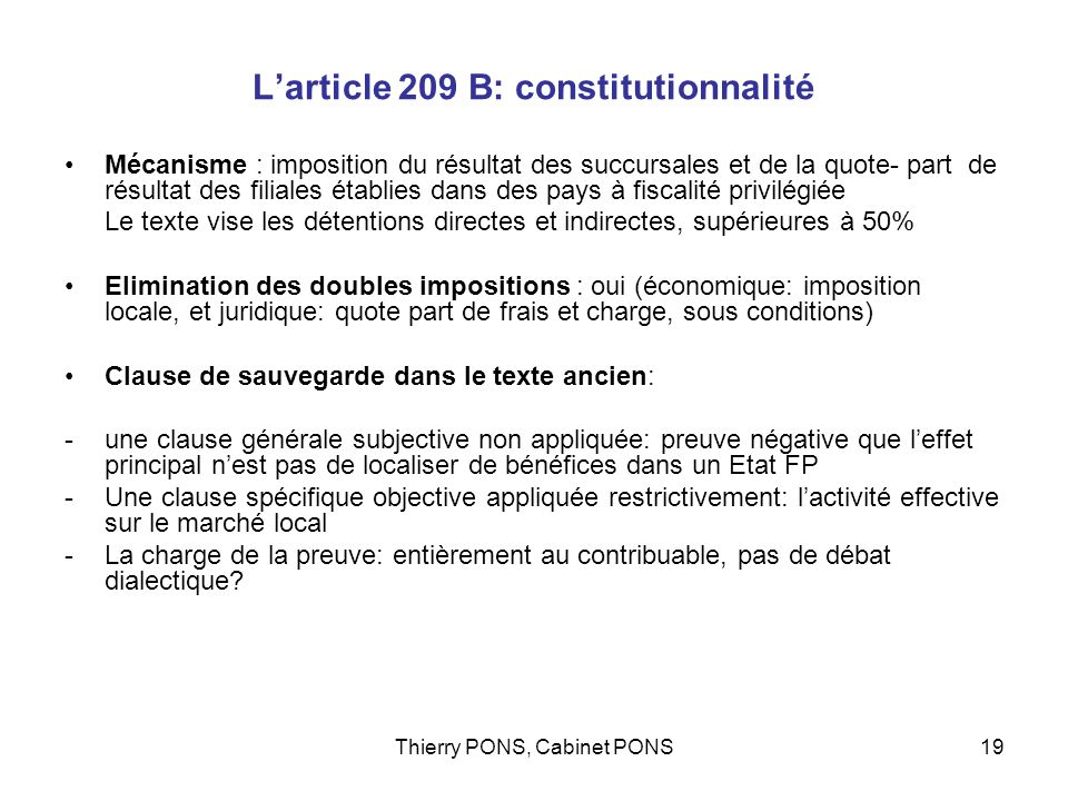 L'article 209 B: constitutionnalité