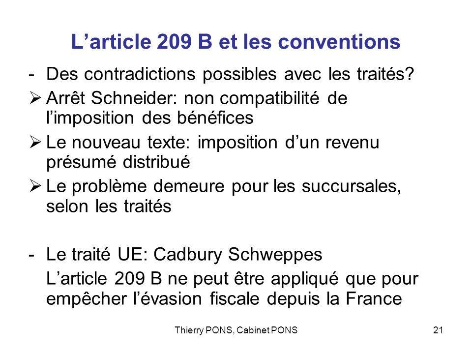 L'article 209 B et les conventions