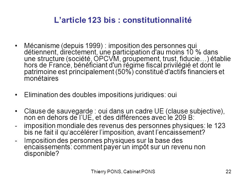 L'article 123 bis : constitutionnalité