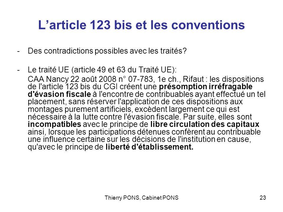 L'article 123 bis et les conventions