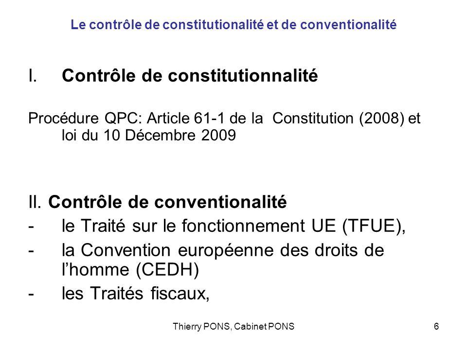 Le contrôle de constitutionalité et de conventionalité