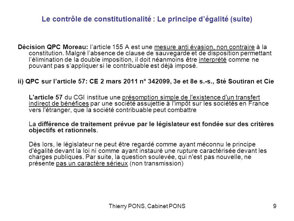 Le contrôle de constitutionalité : Le principe d'égalité (suite)