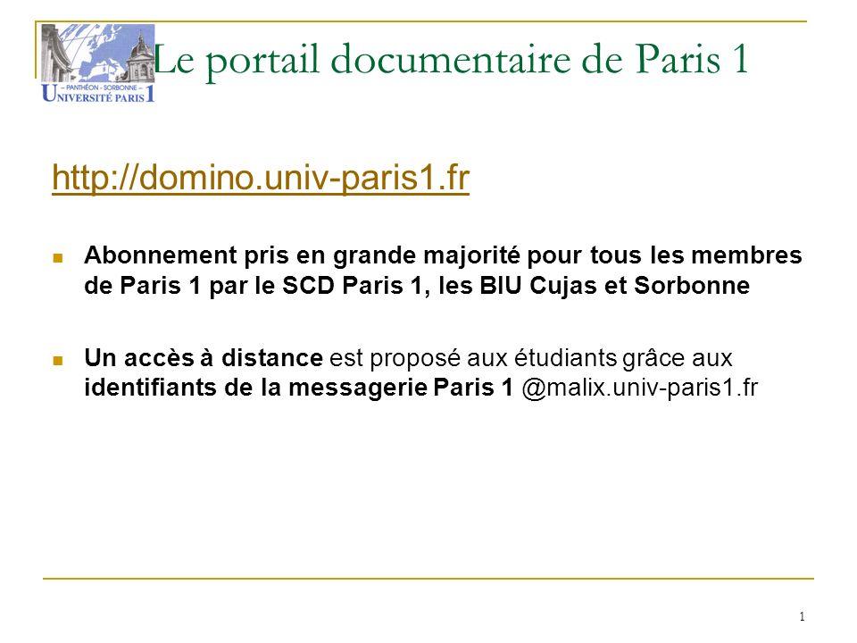 Le portail documentaire de Paris 1