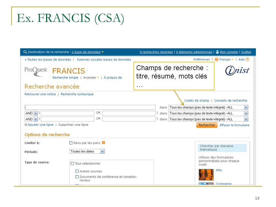 Ex. FRANCIS (CSA) Champs de recherche : titre, résumé, mots clés …