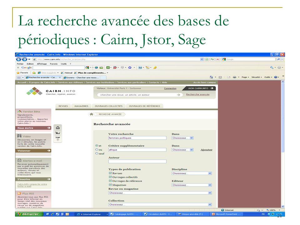 La recherche avancée des bases de périodiques : Cairn, Jstor, Sage