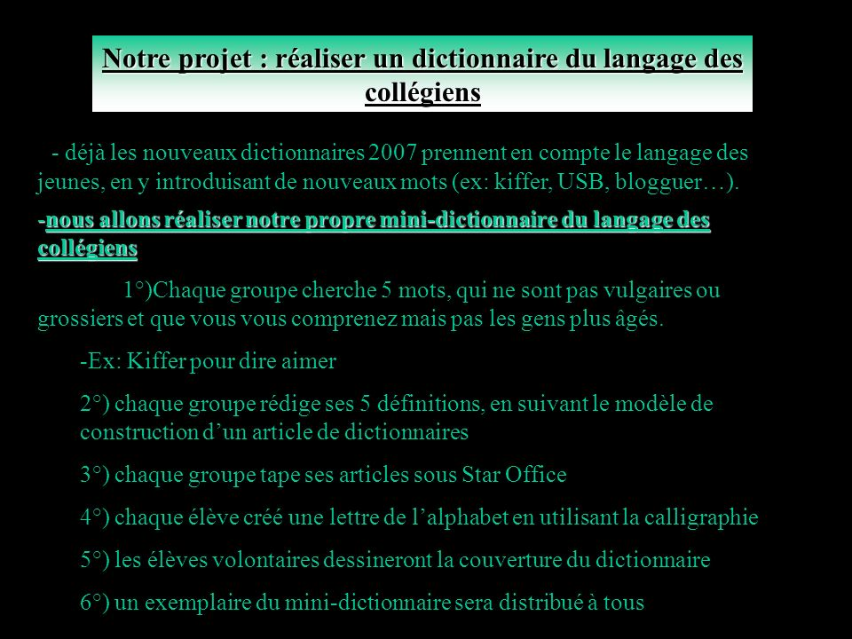 Notre projet : réaliser un dictionnaire du langage des collégiens