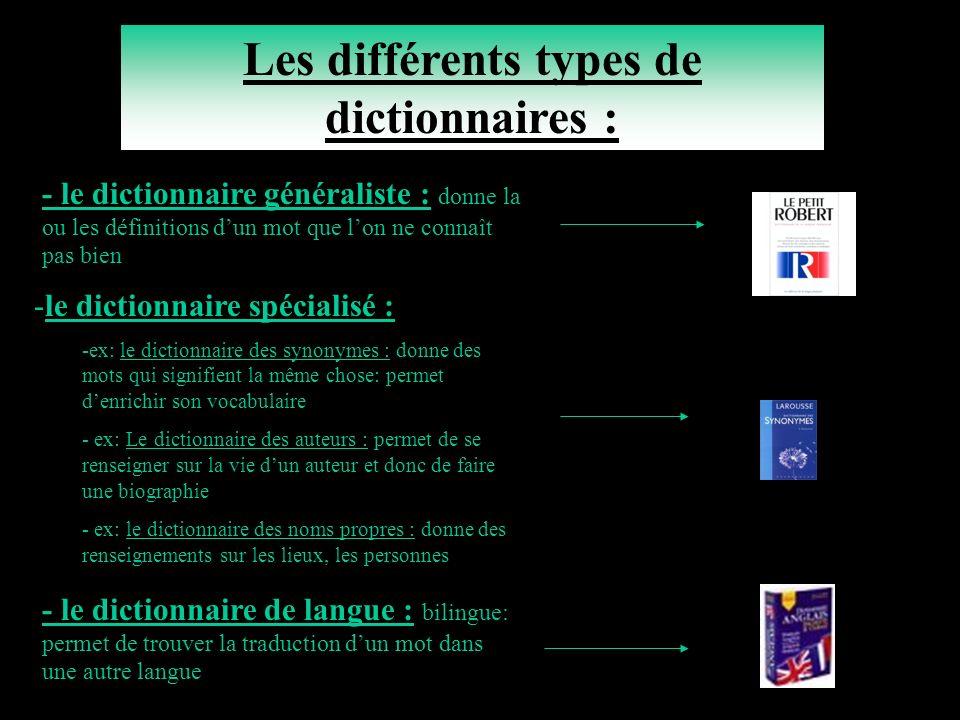Les différents types de dictionnaires :