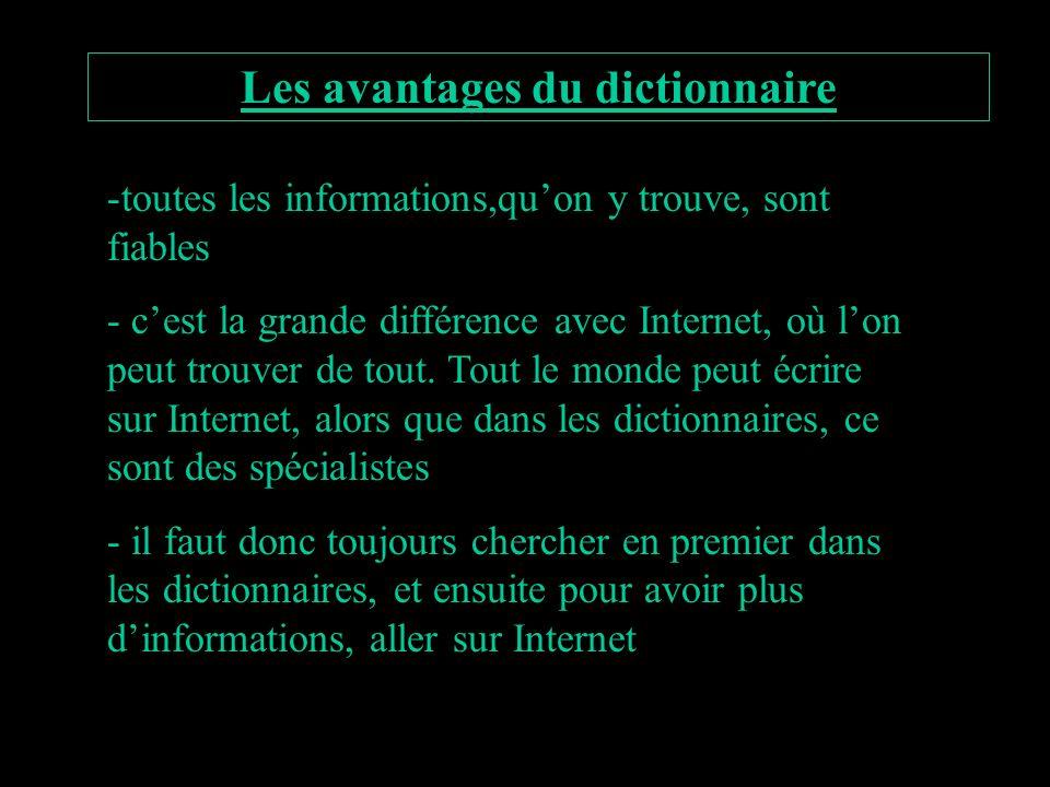 Les avantages du dictionnaire