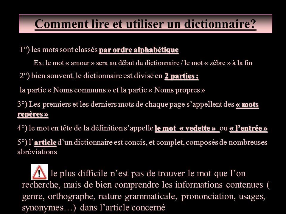 Comment lire et utiliser un dictionnaire