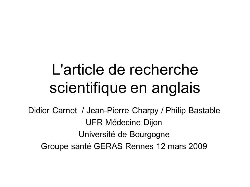 L article de recherche scientifique en anglais