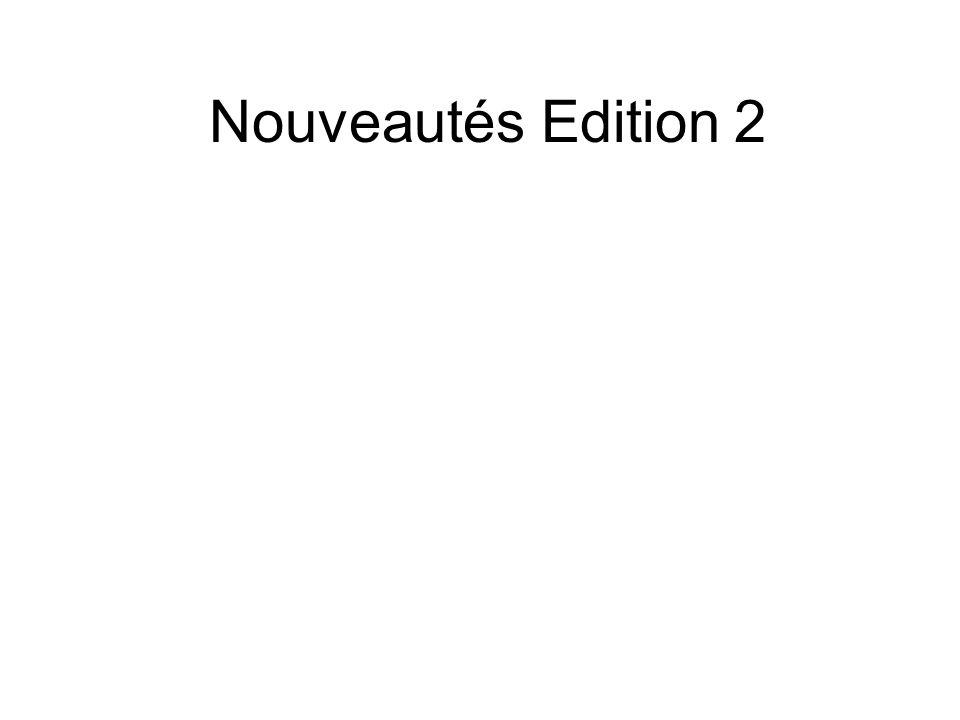 Nouveautés Edition 2