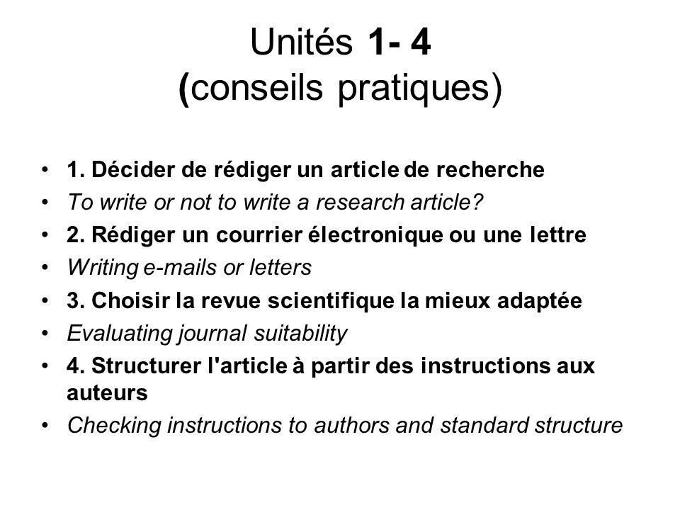 Unités 1- 4 (conseils pratiques)