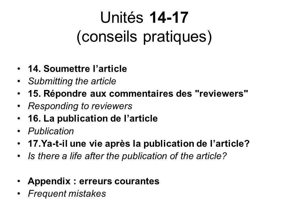 Unités 14-17 (conseils pratiques)