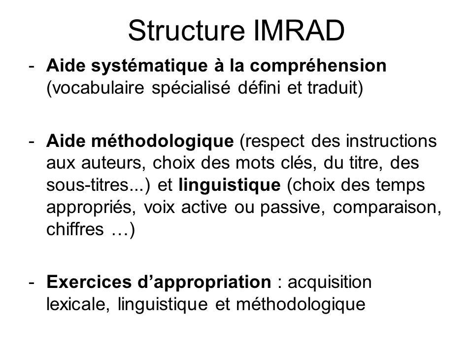 Structure IMRAD Aide systématique à la compréhension (vocabulaire spécialisé défini et traduit)