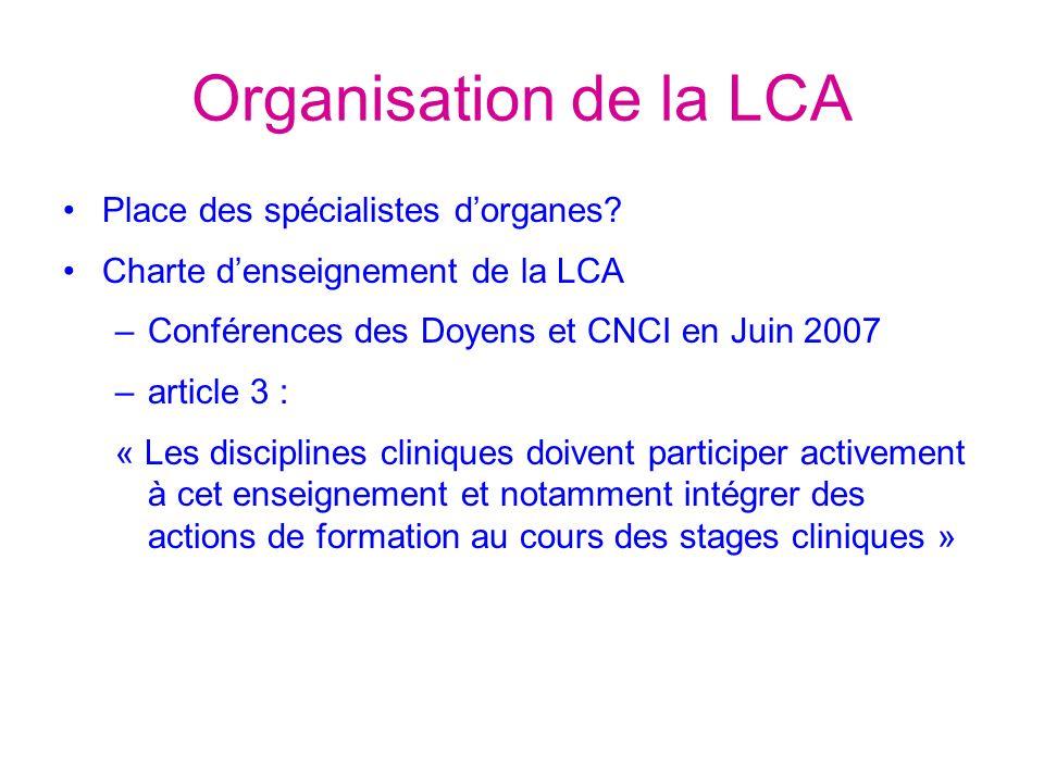 Organisation de la LCA Place des spécialistes d'organes