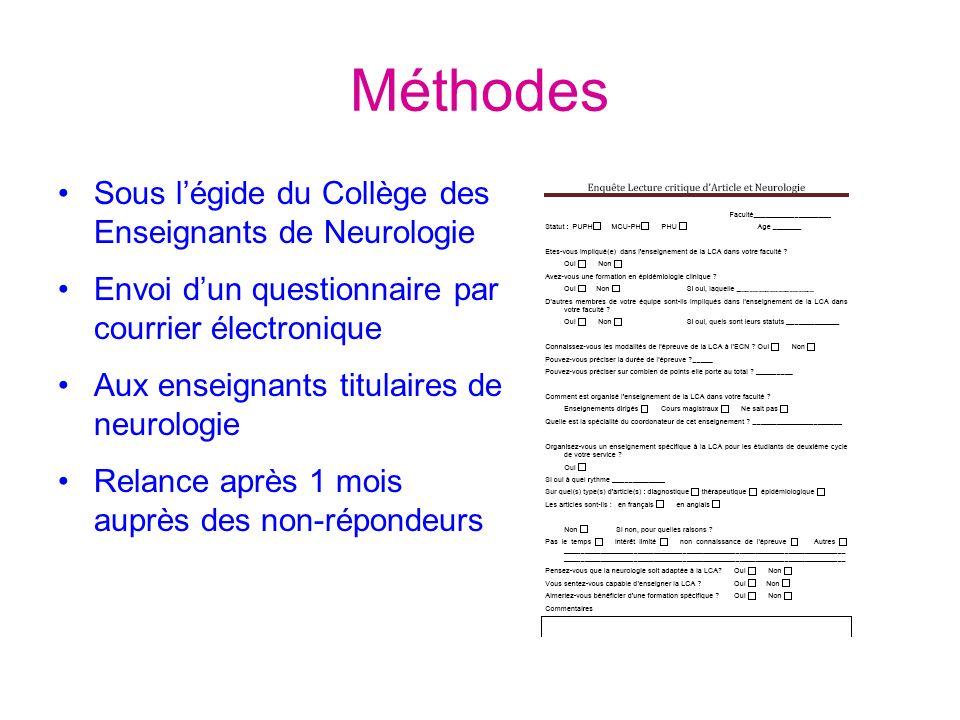 Méthodes Sous l'égide du Collège des Enseignants de Neurologie