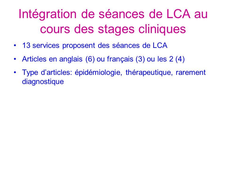 Intégration de séances de LCA au cours des stages cliniques