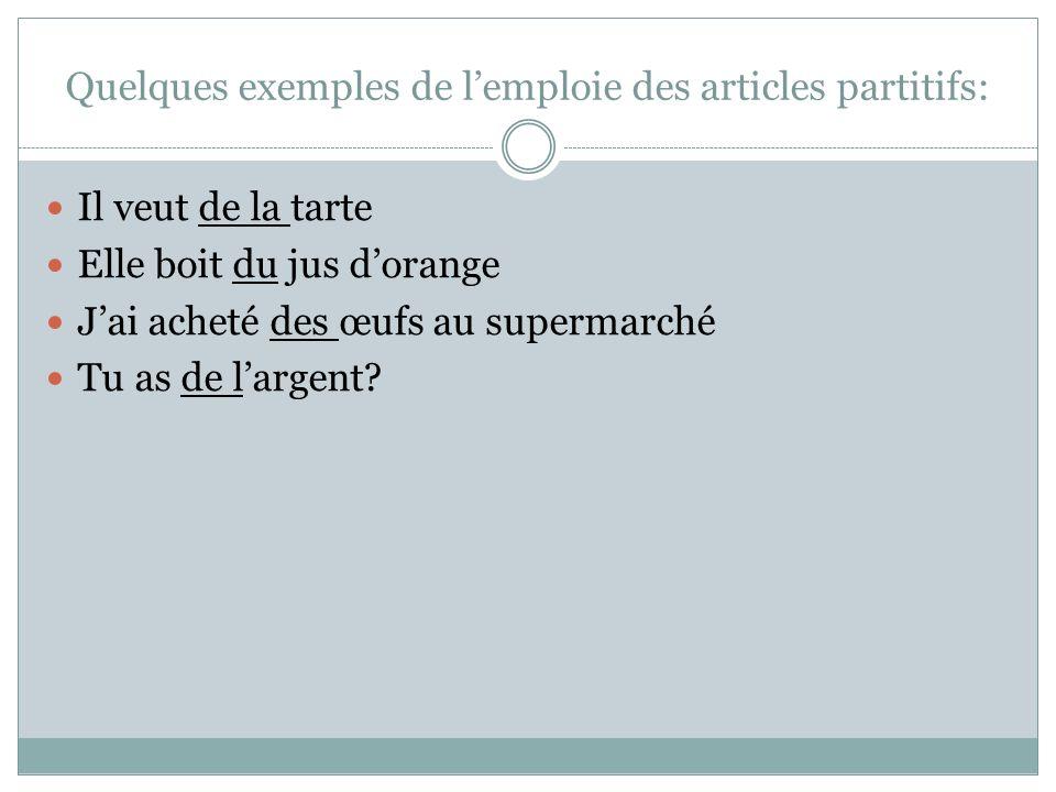 Quelques exemples de l'emploie des articles partitifs: