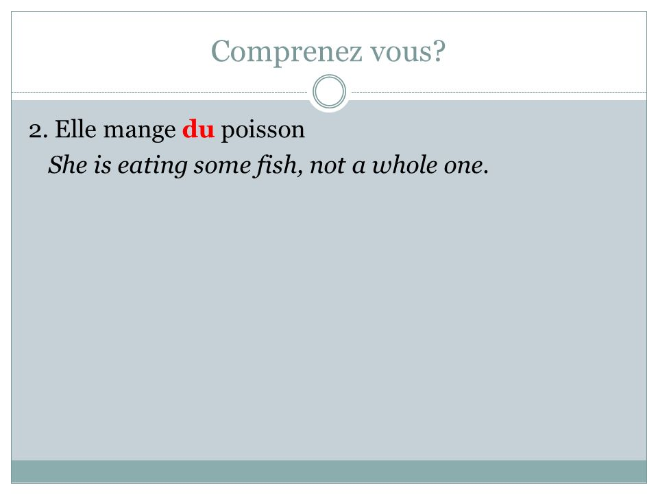 Comprenez vous 2. Elle mange du poisson She is eating some fish, not a whole one.