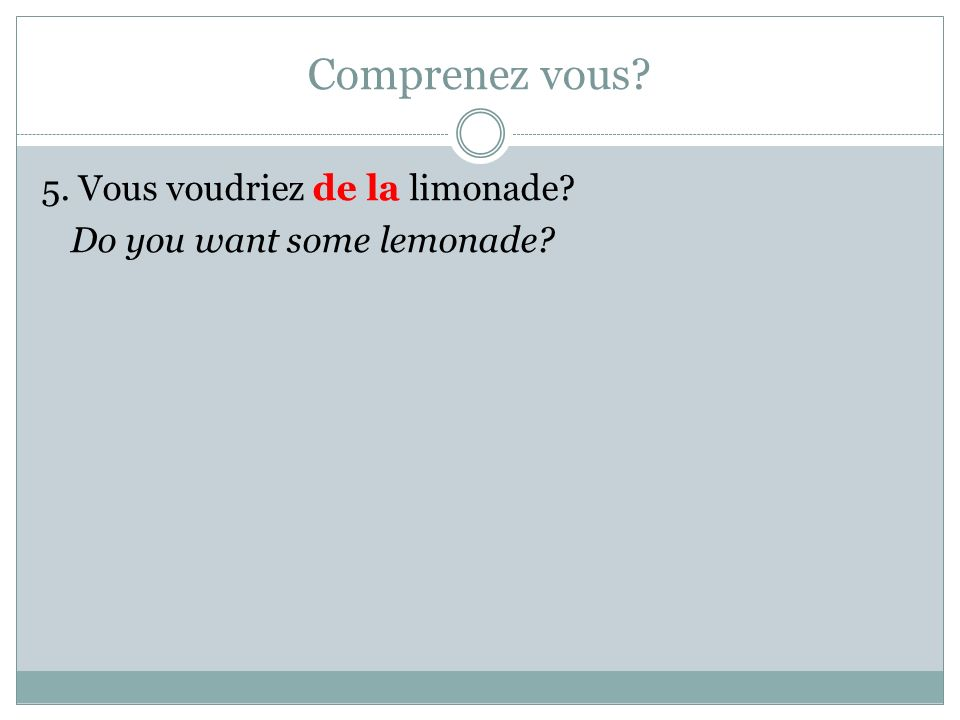 Comprenez vous 5. Vous voudriez de la limonade Do you want some lemonade