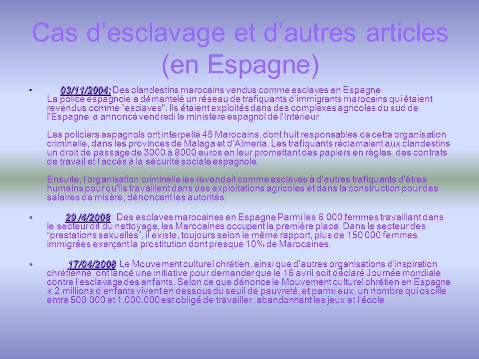 Cas d'esclavage et d'autres articles (en Espagne)