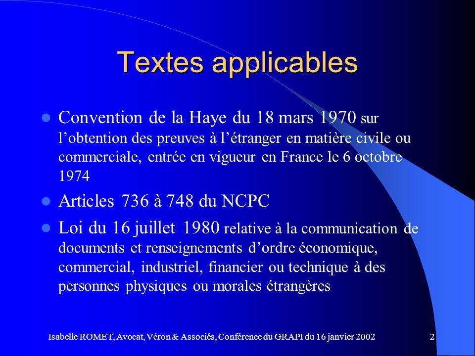 Textes applicables