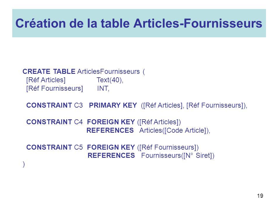 Création de la table Articles-Fournisseurs