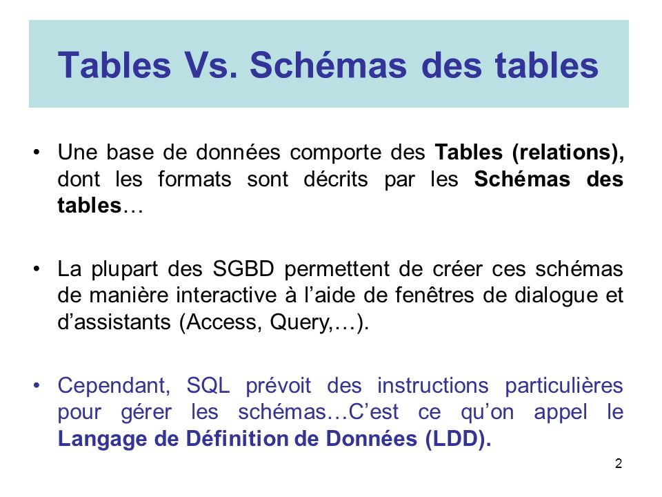 Tables Vs. Schémas des tables