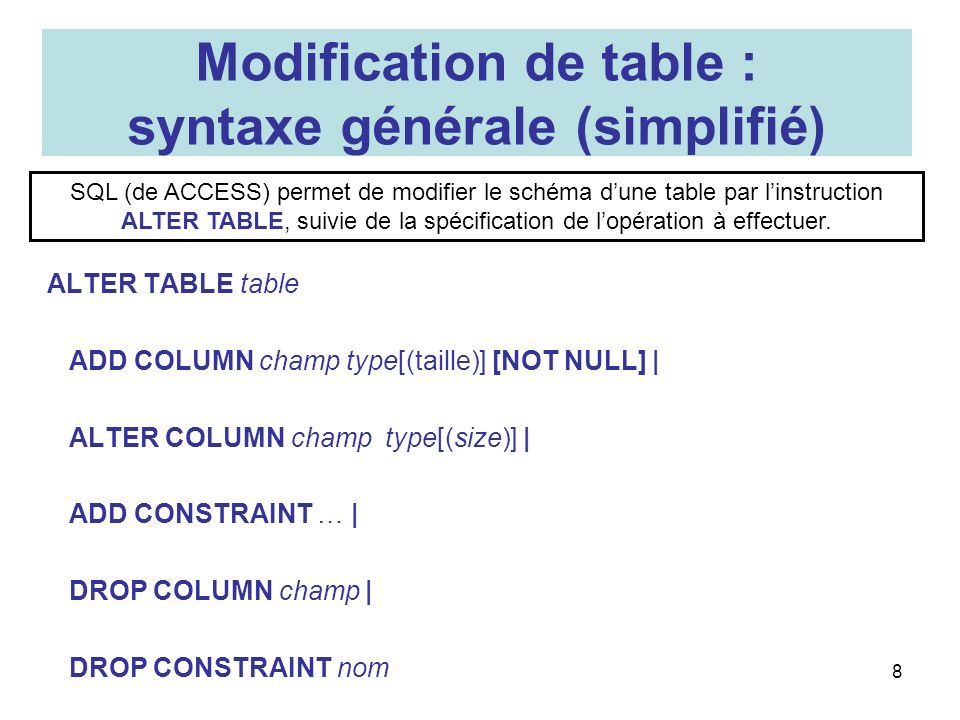 Modification de table : syntaxe générale (simplifié)