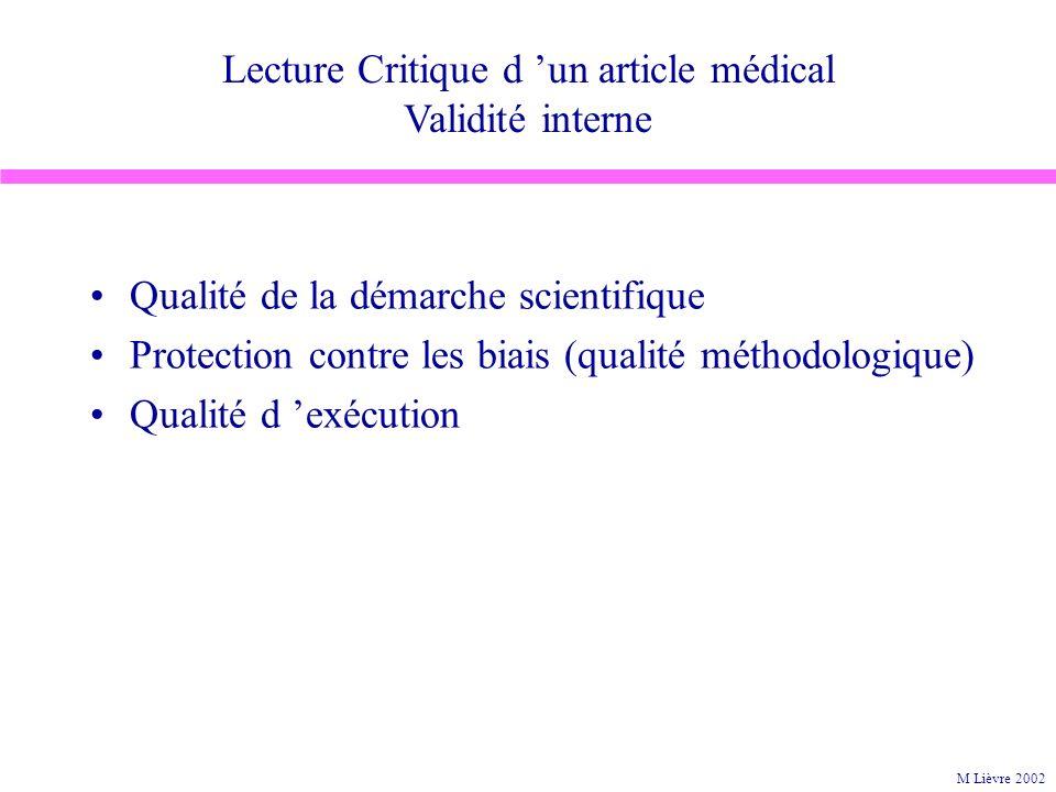 Lecture Critique d 'un article médical Validité interne