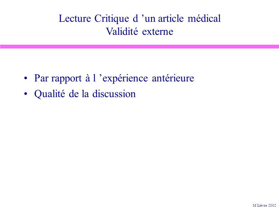 Lecture Critique d 'un article médical Validité externe