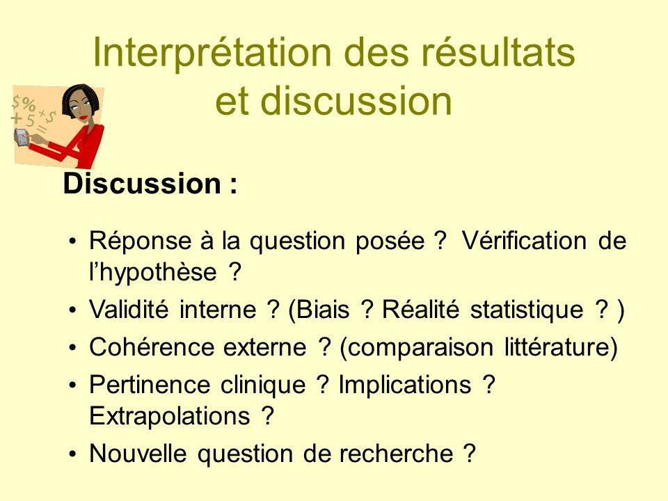 Interprétation des résultats et discussion