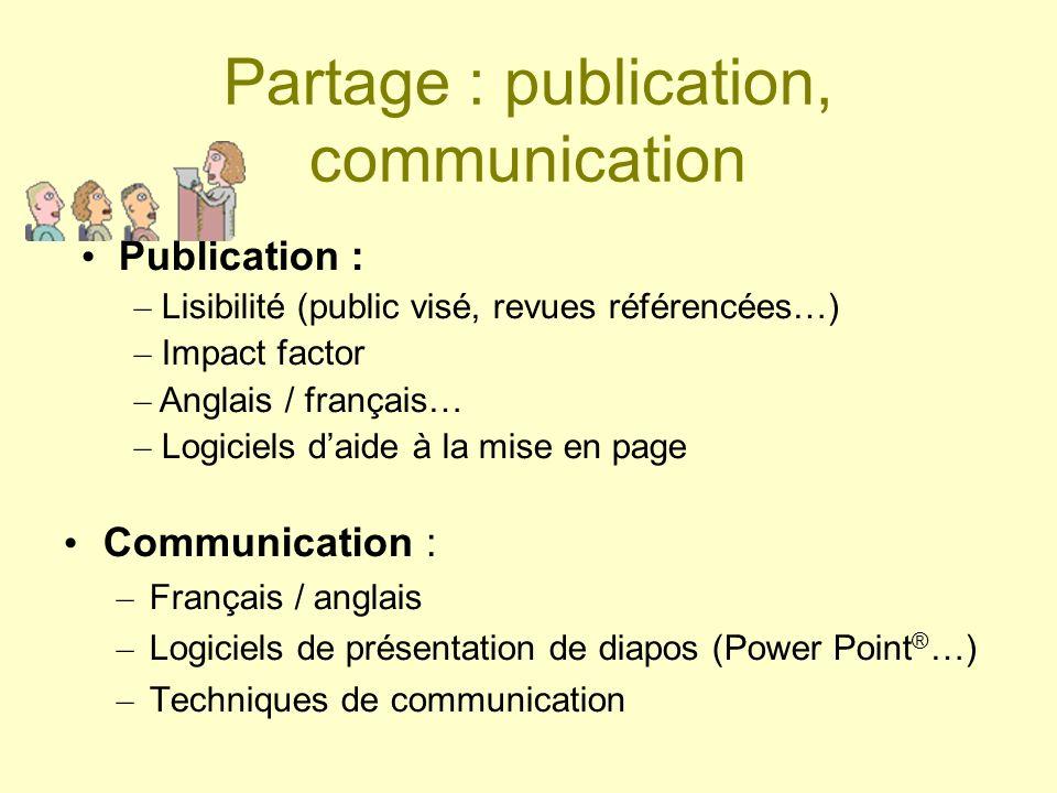 Partage : publication, communication