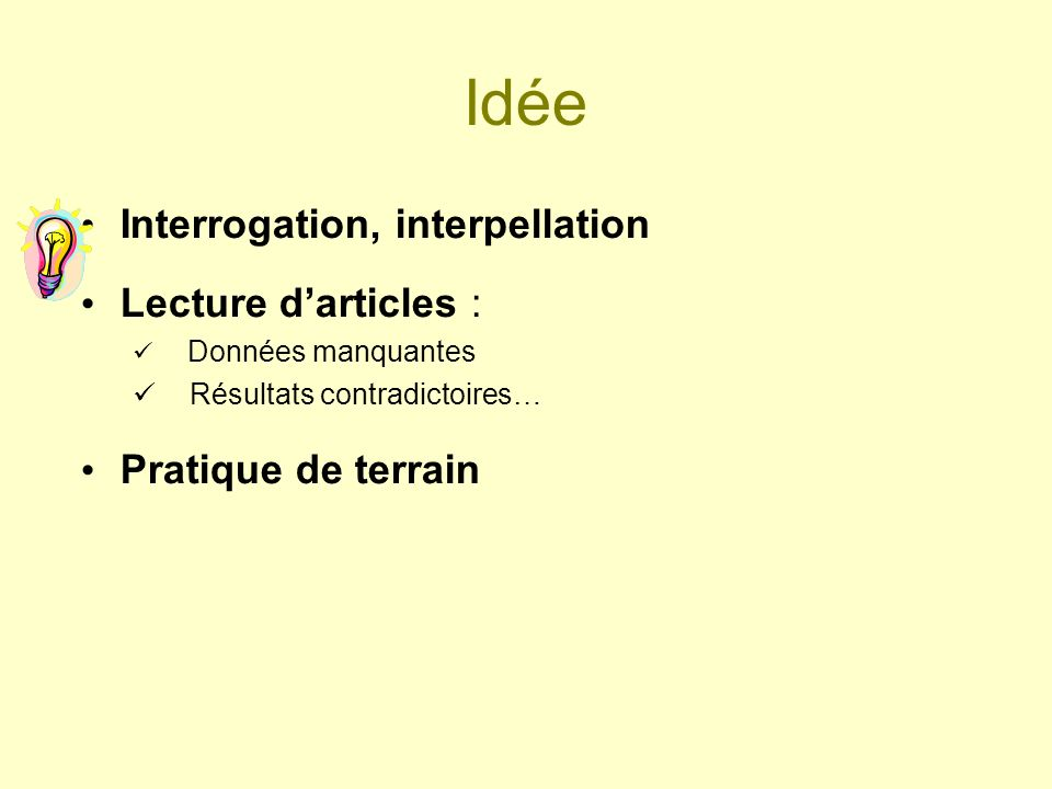 Idée Interrogation, interpellation Lecture d'articles :