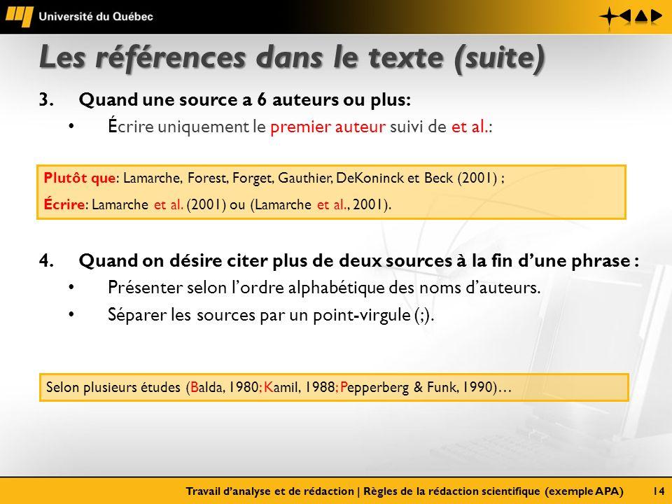 Les références dans le texte (suite)