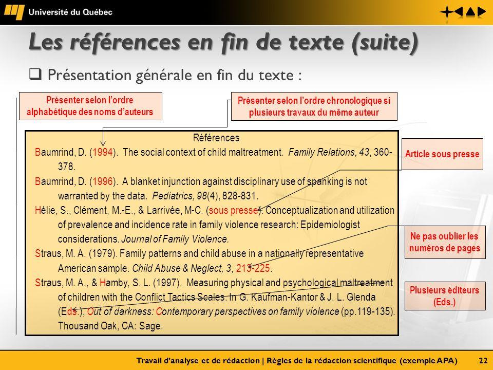 Les références en fin de texte (suite)