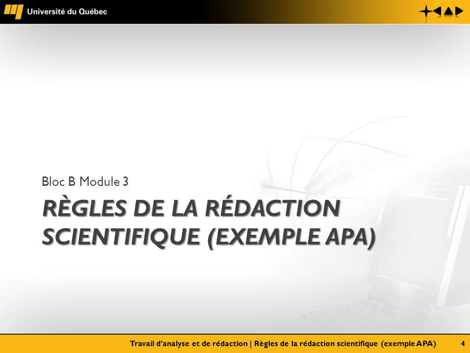 Règles de la rédaction scientifique (exemple APA)