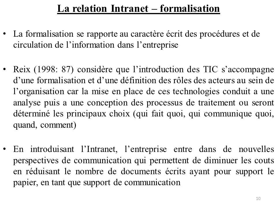 La relation Intranet – formalisation