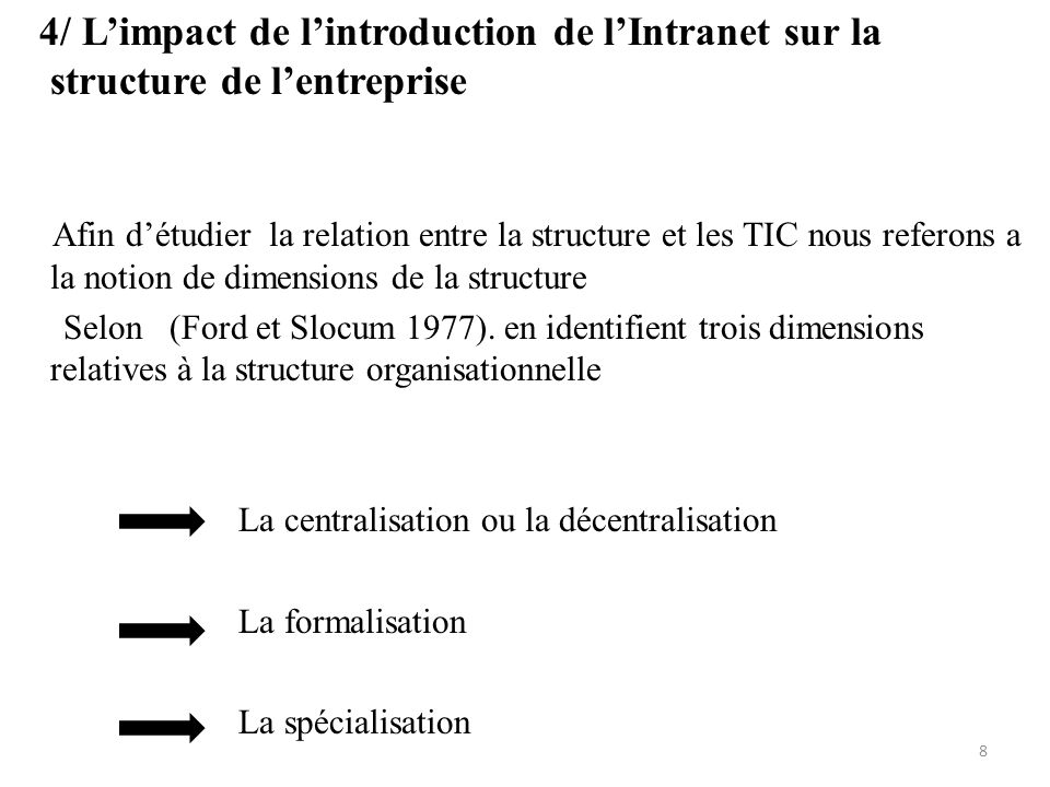 4/ L'impact de l'introduction de l'Intranet sur la structure de l'entreprise